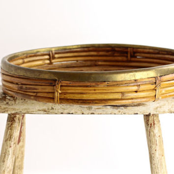 Vintage Rattan and Brass Serving Tray - Ottoman Tray