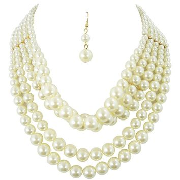 Bridal Ivory Faux Pearl Multi Strand Pearl Choker Necklace