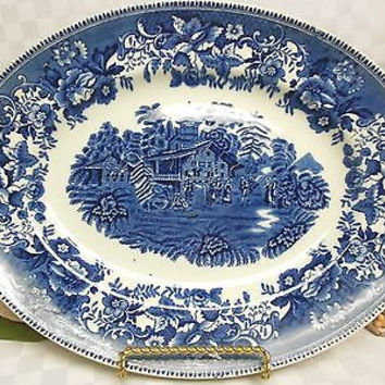 Wedgwood Enoch China Dinnerware England Avon Cottage in Blue Oval serving platt