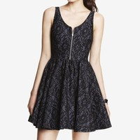 ZIP FRONT BONDED LACE FIT AND FLARE DRESS
