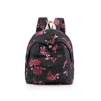 School Backpack trendy Flower Printing Backpack Women Floral Bookbags Canvas Backpacks School Bag For Girls Rucksack Female Travel Dailypack AT_54_4