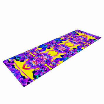 "Dawid Roc ""Tropical Orchid Dark Floral 3"" Purple Yellow Yoga Mat"