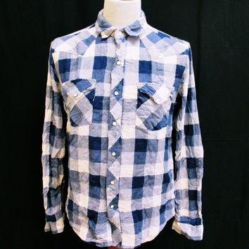 Retro Salt Valley Plaid Lumberjack Designer Indie Slim Fit Shirt Medium