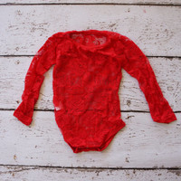 Long Sleeve Lace bodysuit - Red Baby Lace shirt - Long Sleeve Lace Body Suit - baby one piece - girls lace shirt - baby lace shirt
