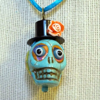 Day of the Dead Necklace, Día de Muertos,  Handmade, Turquoise Top Hat Mexican Sugar Skull Necklace, Posh Signatures lines, One Of A KInd