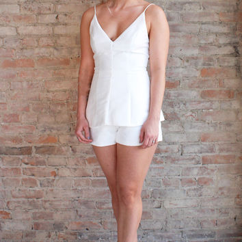 Elle Sateen Playsuit - White