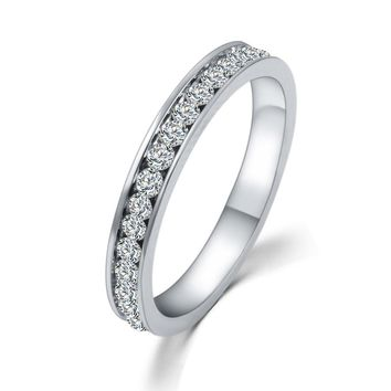 Wedding Bridal Band CZ Diamond Ring Silver 925 Gifts for Women