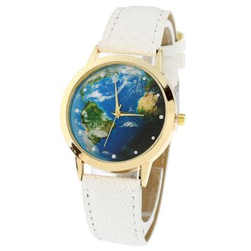 World Map Watch - Green Earth Women's Watch Leather Band