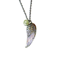 Silver Angle Wing Charm Necklace with Pearl