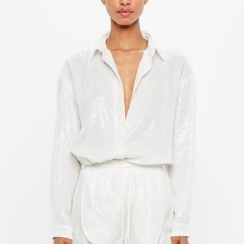 Missguided - Peace + Love White Sequin Shirt