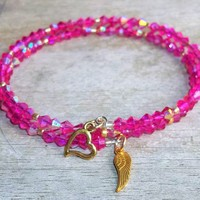 Plus Size Elegance Angel Wing Hot Pink Acrylic Crystal & Gold Glass Beaded Artisan Crafted Stackable Wrap Bracelet (L-XXL)