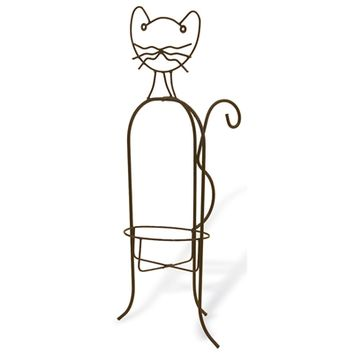 SheilaShrubs.com: Whimsical Metal Cat Planter Holder AN112 by Deer Park Ironworks: Planters