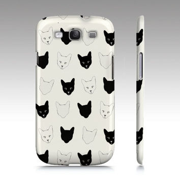Cat print Samsung Galaxy S3 case, Galaxy S4 case, Cat pattern case, cats, cute cat pattern, black and white, art for your phone