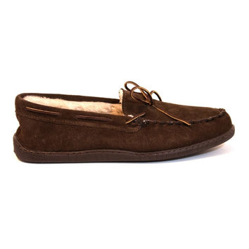 Minnetonka Pile Lined Hardsole - Chocolate Suede Moccasin/Slipper