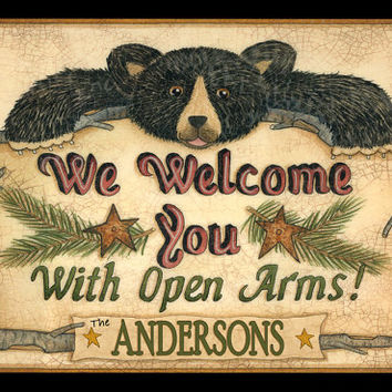 Open Arms Black Bear Personalized Print, Sign, Poster
