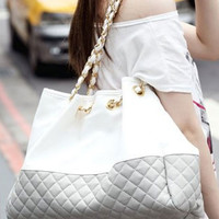 Chain Straps with Diamond Pattern Casual Shoulder Bag