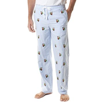 Sleeper Pant in Oxford Blue with Embroidered Santa by Castaway Clothing - FINAL SALE