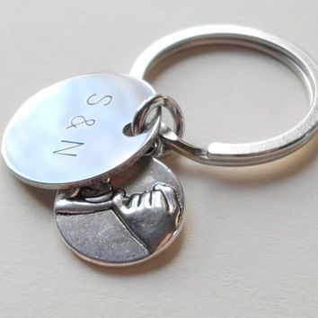Pinky Promise Keychain, Initials Hand Stamped Keychain, Custom Keychain, Best Friends Keychain, Sisters, Couples Keychain Anniversary Gift