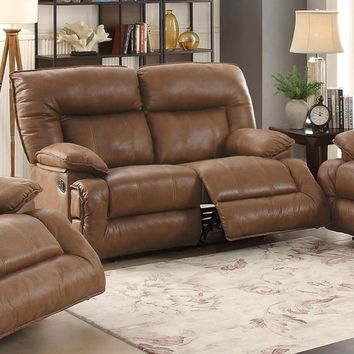 Breathable Leather, Solid Pine & Plywood Reclining Loveseat, Brown