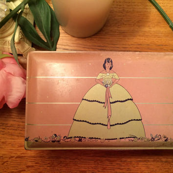 Art Deco Style Cales Chocolate Company Pink Collectible Candy Box Valentines Day Square Candy Tin with Doll on Hinged Lid Gold Trim Vintage