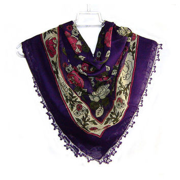 Traditional Turkish Yemeni Cotton Scarf With Crocheted Lace, Purple / Fushia / Yellow Floral Pattern