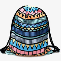 Colorful Aztec Print All Over Print Drawstring Backpack