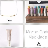 Family Morse Code Necklace 14K Gold Filled Beads Spell Fam - Artisan Morse Code Jewelry Gift Idea