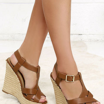 Dancing Time Whiskey Brown Espadrille Wedges