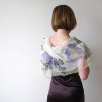 Silk chiffon scarf Hand painted by DEsilk