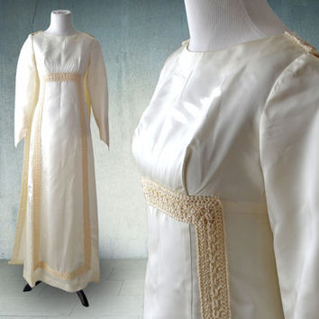 1960s Satin Wedding Gown with Long Sleeves Empire Waist