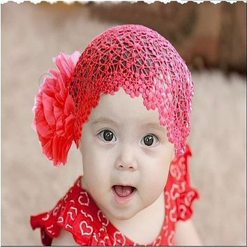 New Baby Girls Flowers Headband Elastic Lace Hat Cap Hairband Hair Accessories