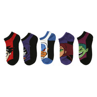 DC Comics Teen Titans No-Show Socks 5 Pair