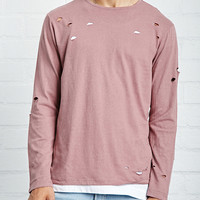Distressed Long-Sleeve Tee