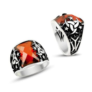 Crescents stars sword with red zirconia stone sterling silver ring
