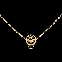 Sugar Skull Stainless Steel Necklace