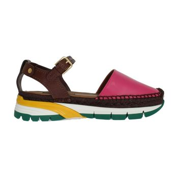 Dolce & Gabbana Brown Pink Leather Espadrilles Sandals