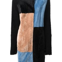 Drome colour block fur coat