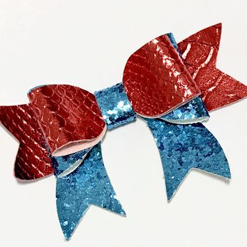 """Red mermaid scale w/ turquoise glitter 3.5"""" leather bow tie"""