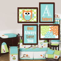 OWL Theme Monogram Child Name Aqua Orange Green Choose Any Quote Nursery Print Artwork Set of 4 Prints Girl WALL ART Picture Baby Decor