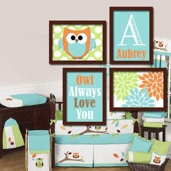 Hochwertig OWL Theme Monogram Child Name Aqua Orange Green Choose Any Quote