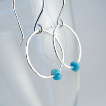 Sterling Silver Earrings Blue Larimar Earrings Silver Hoops Sundance Style Earrings Blue Larimar Small Hoops Simple Jewelry Gifts For Her