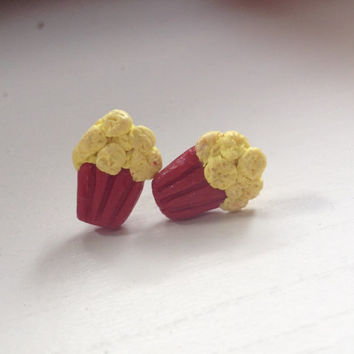 Movie theatre popcorn polymer clay studs