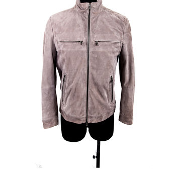 Taupe Perforated Leather Jacket Size:50
