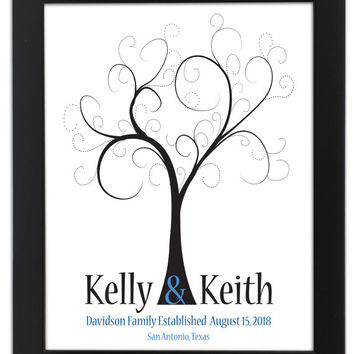 Fingerprint Guest Tree, Wedding Poster, Thumbprint Stamp Tree guest book, Love Birds, THUMBPRINT TREE, 20x30 num.141