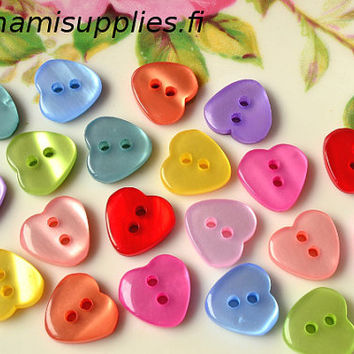 Violet Heart Buttons - Shiny Heart Buttons - 10mm Buttons - Small Heart Buttons