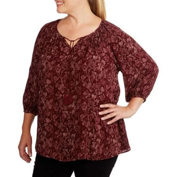 Faded Glory Women's Plus-Size Woven Peasant Top - Walmart.com