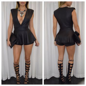 All :: Jumpsuits :: Farrah Faux-Leather Peplum Romper