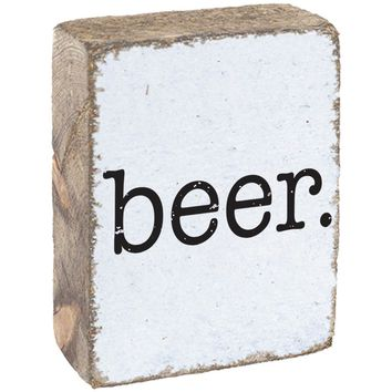 Beer | Wood Block Sitter | 6-in