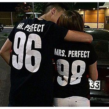Couple Clothes Summer 2016 Mr Mrs Printed Graphic T-shirt Punk Rock Short Sleeve Couple Shirt
