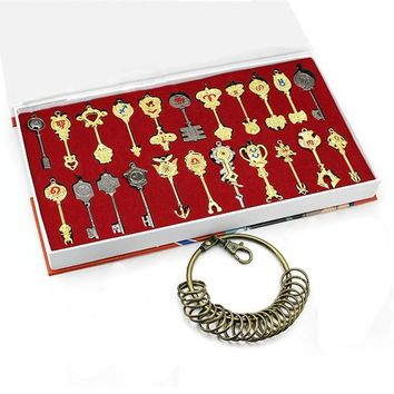 Rulercosplay Fairy Tail Lucy New Collection Set of 25 Golden Zodiac Keys + Chain